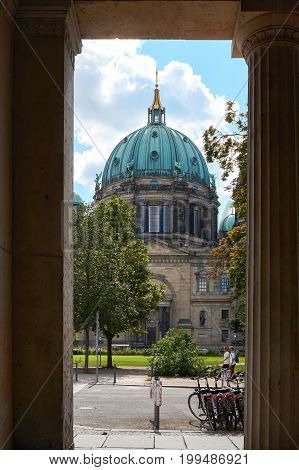 BERLIN, GERMANY - AUGUST 07, 2017: The Berlin Cathedral in the center of the city. The Berlin Cathedral is an evangelical church and was completed in 1905