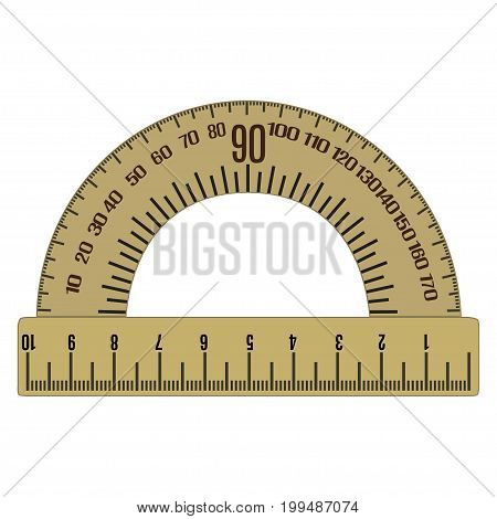 Protractor flat icon. Instrument for measuring angles in degrees. Vector illustration on white background.