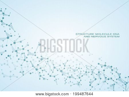 Structure molecule dna and neurons, connected lines with dots, genetic and chemical compounds, vector illustration