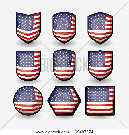 white background of colorful three-dimensional set flags united states of america different shapes vector illustration