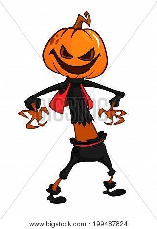 Halloween scary orange yellow cartoon pumpkin scarecrow. Vector illustration