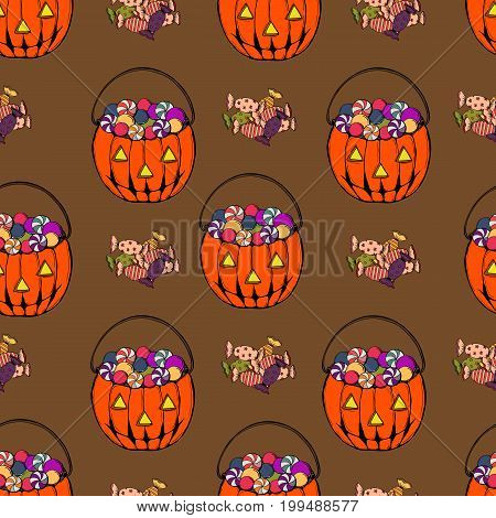 Vector colorful Halloween seamless pattern with candies bag and candy