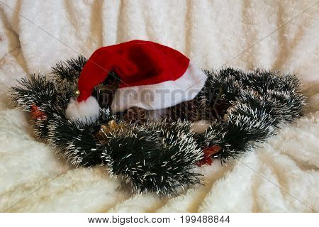 Red Santa hat on the green needles background with nobs and snowy balls. White background.