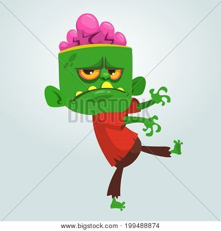 Vector cartoon image of a funny green zombie with big head in brown pants and red t-shirt walking to the right and smiling on a light gray background. Apocalypse dead halloween. Vector illustration.