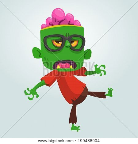 Cartoon zombie nerd with glasses. Halloween vector illustration of funny cool zombie isolated on white
