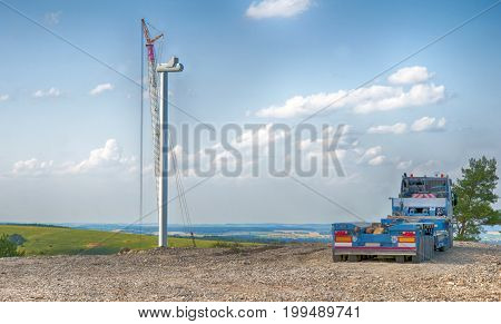building site of a wind turbine. A close up