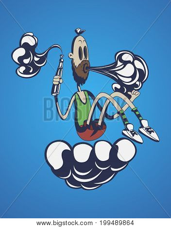 Hand-drawn hipster dude with mustache and beard . smokes and produces steam, smoke cloud. Vaping. Vector illustration.