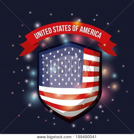 color dark blue background with brightness of shield shape flag united states of america with label tape up vector illustration