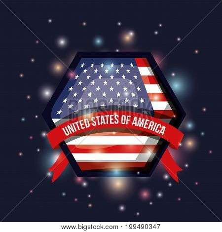 color dark blue background with brightness of hexagon shape flag united states of america with label tape vector illustration