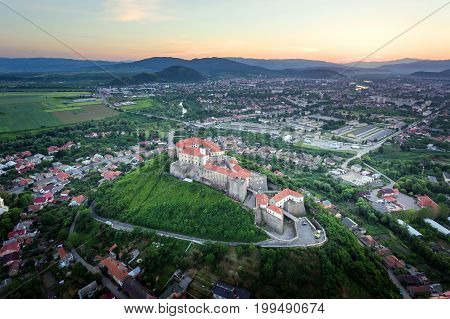 Aerial view of the Mukachevo castle Palanok medieval fortress in Ukraine.
