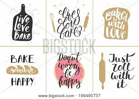 Set of vector bakery lettering posters greeting cards decoration prints. Hand drawn typography design elements. Handwritten lettering. Modern ink brush calligraphy.