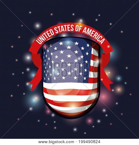 color dark blue background with brightness of shield decorative shape flag united states of america with label tape vector illustration