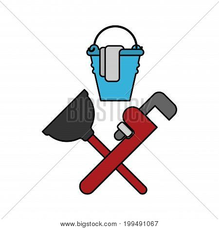 Plumber Service Emblem. Plumber And Logo Cleaning. Rubber Plunger And Adjustable Wrench. Bucket For