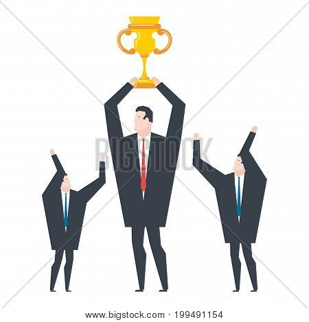 Business Winner. Businessman Holds Gold Cup In His Hands. Award For Victor