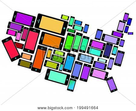 An illustration of SmartPhones all across the USA for print or web