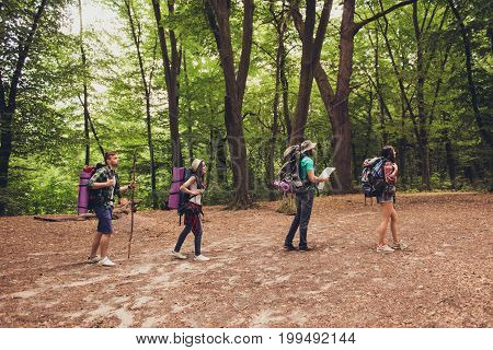 Trekking, Camping And Wild Life Concept. Side Profile Full Lengs Photo Of Four Best Friends, Hiking
