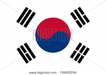 Depiction of the South Korean flag over a white background