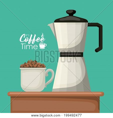 color background with of porcelain mug with pile coffee beans and metallic jar of coffee with handle vector illustration