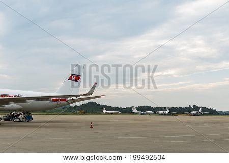 NORTH KOREA, PYONGYANG - July : Air Koryo plane at July 31, 2014 in Pyongyang North Korea, Air koryo is the national airline of North Korea.