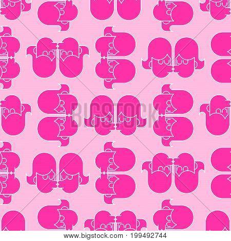 Lesbians Kissing Background. Lgbt Seamless Pattern. Girls Kiss