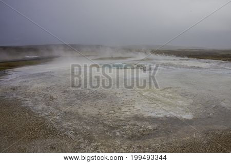 Hot Steam Coming From The Boiling Water In The Central Iceland In The Geothermal Area Of Hveravellir