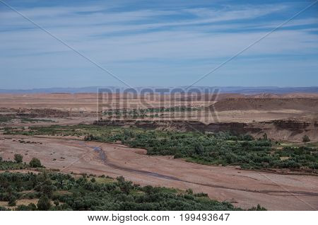 View Of Canyon Of  Asif Ounila River Near Kasbah Ait Ben Haddou In The Atlas Mountains Of Morocco