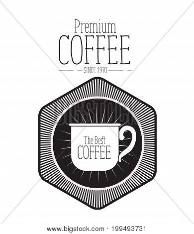 white background of text premium coffee beans since 1970 and logo design of diamond shape decorative frame with silhouette mug the best coffee vector illustration