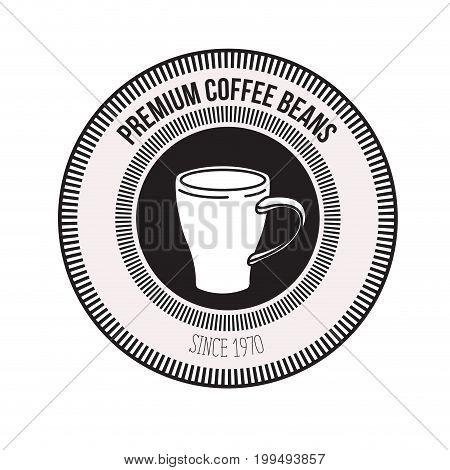 white background of logo design of decorative circular frame with silhouette mug premium coffee beans since 1970 vector illustration
