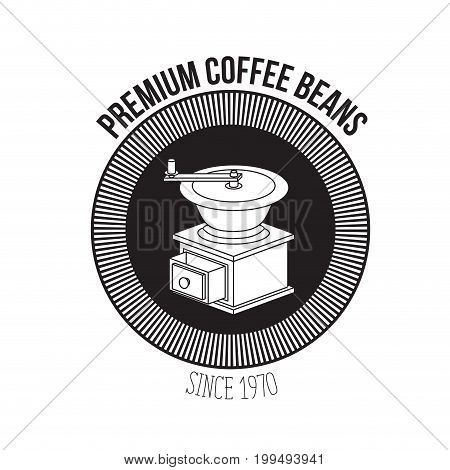 white background of text premium coffee beans since 1970 and logo design of circular shape decorative frame with silhouette grinding with crank vector illustration