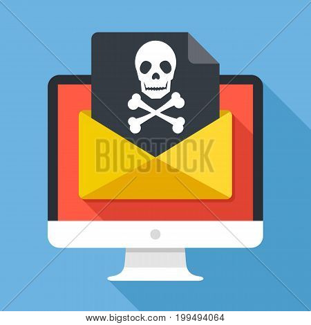 Computer and envelope with black document and skull icon. Virus, phishing scam, malware, ransomware, email fraud, e-mail spam, hacker attack concepts. Long shadow flat design vector illustration