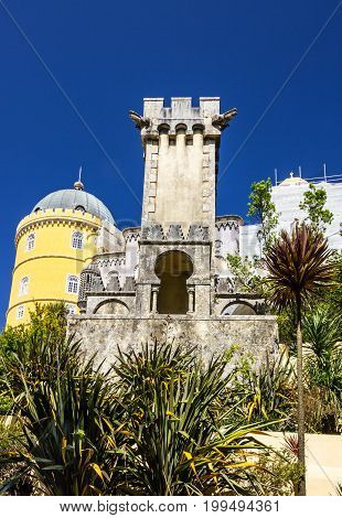 Sintra, Portugal. Pena National Palace building architecture