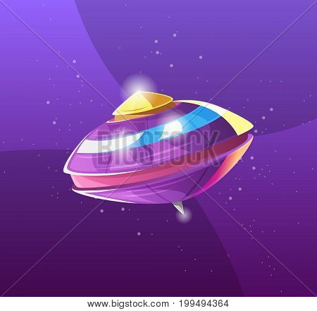 Ufo - Alien spaceship. element for design games development. Flying Saucer, spacecrafts from alien invaders, futuristic shapes