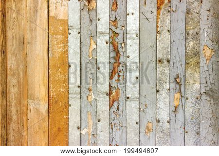 Vintage whitewash painted rustic old wooden shabby plank wall textured background. Faded natural wood board panel structure.