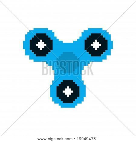 Spinner Pixel Art. Fidget Finger Toy Pixelated. Anti Stress Hand Toy On White Background
