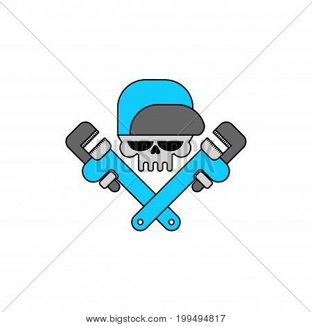 Plumber Service Emblem. Skull And Adjustable Wrench