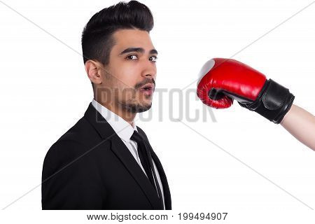 Businessman In Suit Gets Hit, Business Agression