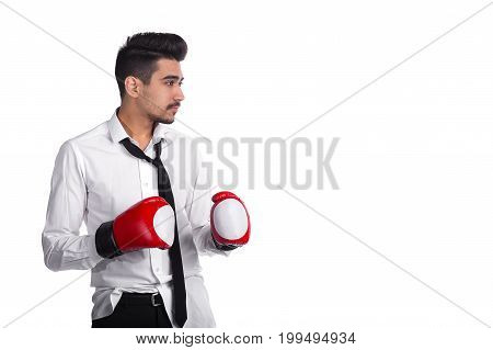 Young Businessman Boxer In Boxing Gloves