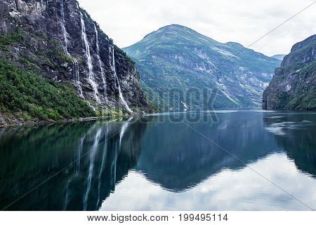 Norway fjords, waterfalls - Seven sisters and bridegroom, Geiranger
