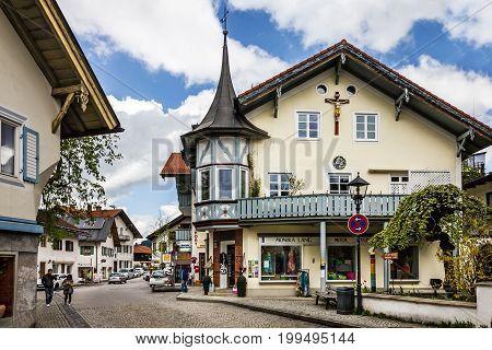 Bavaria, Germany - August 12, 2017: Small church in village Oberammergau