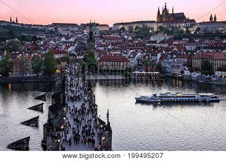 Prague, Czech Republic - Aug 7, 2017: Night view, Prague Charles bridge, Czech Republic