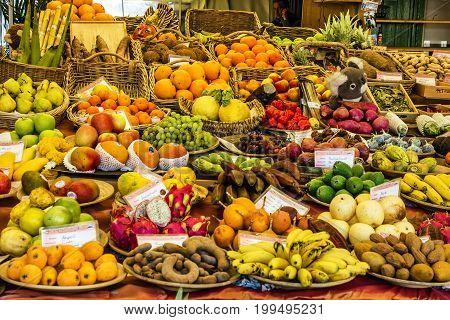 Munich, Germany - May 7, 2017: Exotic fruits on Munich market