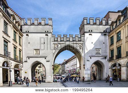 Munich, Germany - Aug 4, 2017:  Munich old town gate, Bavaria