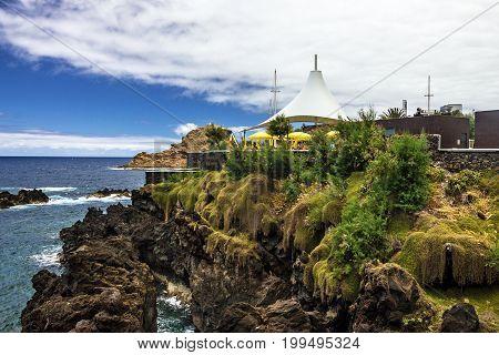 Madeira, Portugal. Beach cafeteria in Portu Moniz.