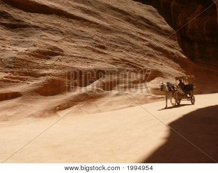 Horse Carriage In A Gorge, Siq, Petra, Jordan