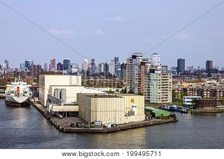 Rotterdam, Netherlands - August 6, 2017: Rotterdam seafront modern port buildings.