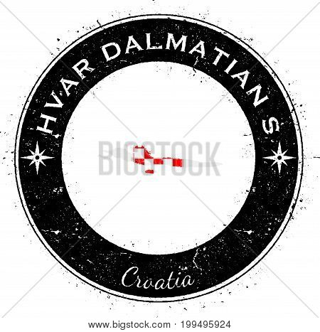 Hvar & Dalmatian Islands Circular Patriotic Badge. Grunge Rubber Stamp With Island Flag, Map And Nam