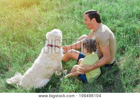 Give me your paw. Excited man is spending great time with his dog on meadow. He is sitting on grass and hugging his son