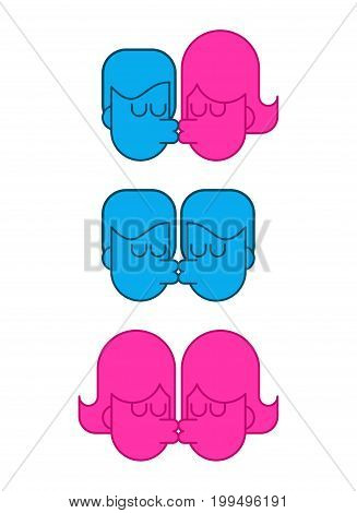 Kiss Free Lover Set Icon Sign. Lgbt Kisses. Guy And Girl Are Passion. Gay And Lesbian