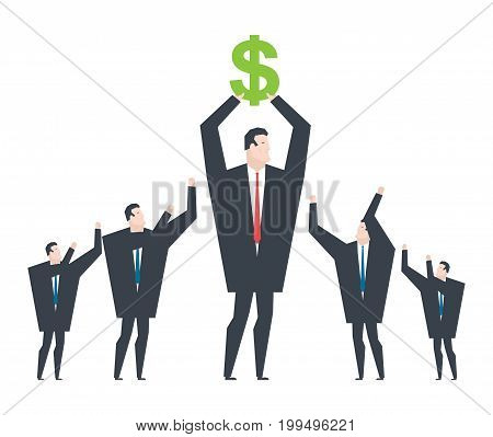 Business Winner. Receiving Profit. Businessman Holds Dollar In His Hands. Award For Victor