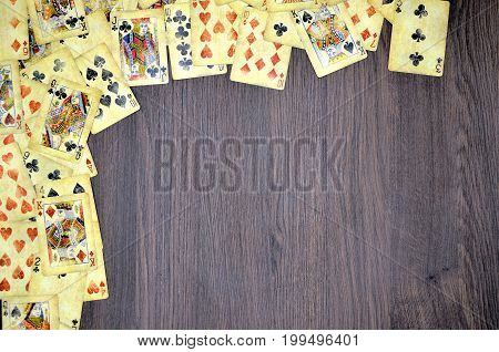 Poker card with a wood Background close up photo
